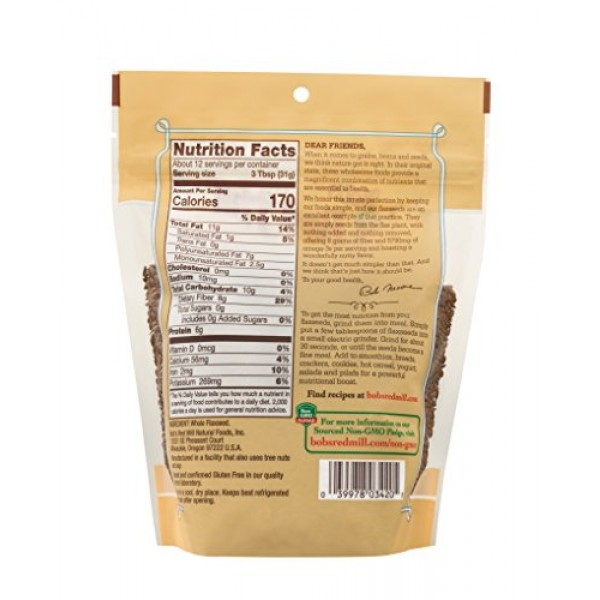 Bobs Red Mill Raw Whole Brown Flaxseed, 13-ounce