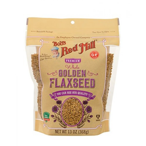 Bobs Red Mill Raw Whole Golden Flaxseed, 13-ounce Pack of 6