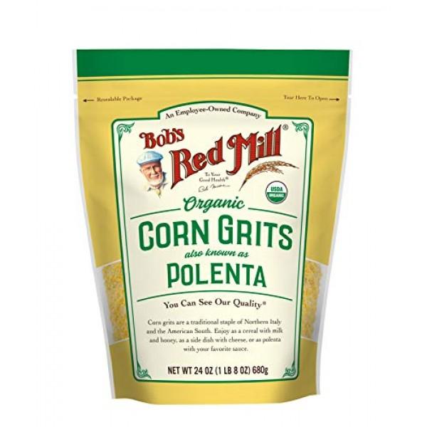 Organic Corn Grits / Polenta, 24 Ounce Pack of 1