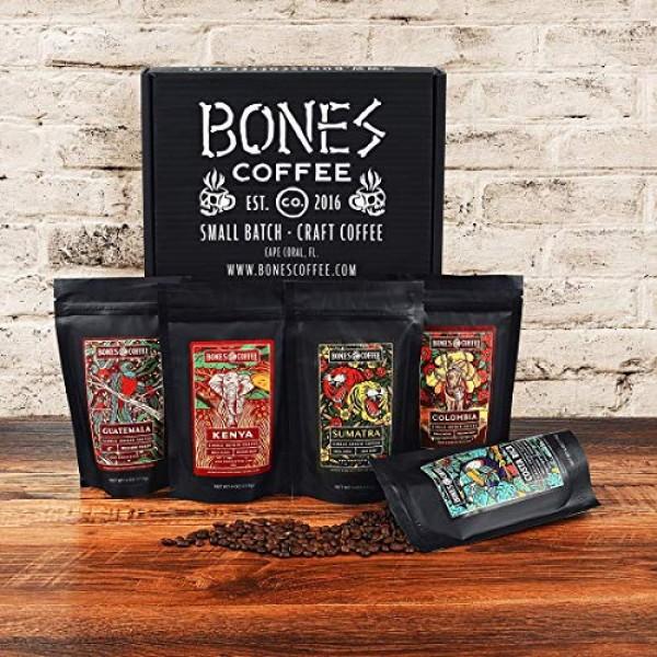 Bones Coffee World Tour Sample Pack, Whole Bean Coffee Sampler G...
