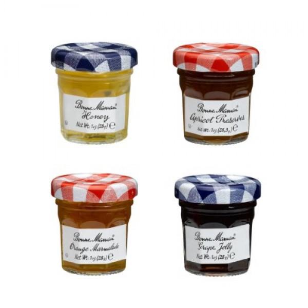 Bonne Maman Mixed Honey, Apricot, Orange & Grape Preserve Mini...