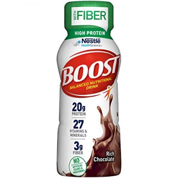BOOST High Protein with Fiber Complete Nutritional Drink, Rich C...