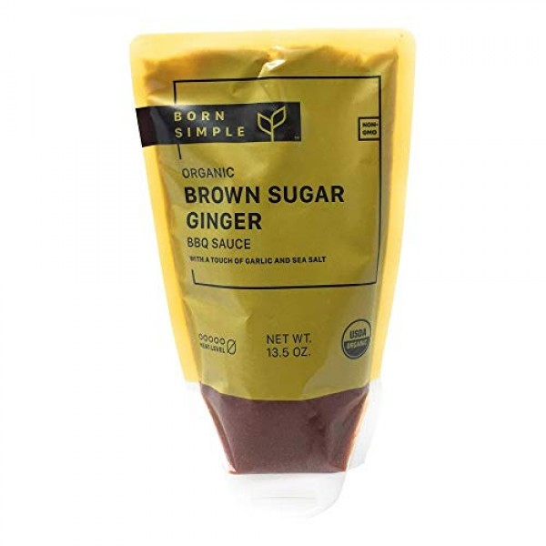 Born Simple, Sauce Barbeque Brown Sugar Ginger Organic, 13.5 Ounce