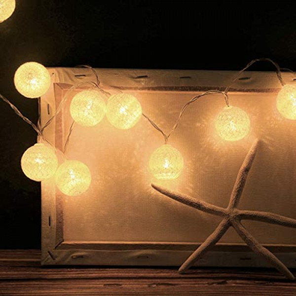 2.1M LED Light String-Cotton Ball Warm White Remoted Decorative ...
