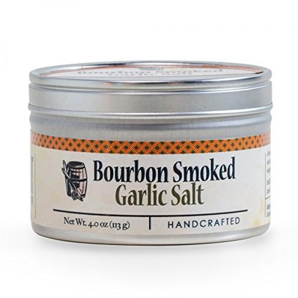 Garlic Salt - Handcrafted Bourbon Smoked Salt Blended with Garli...