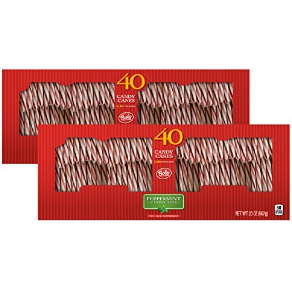 Brachs Bobs Red and White Candy Canes Peppermint, 40 Count Cane...