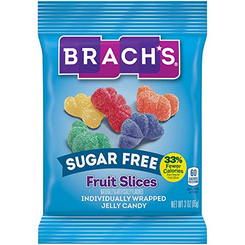 Brachs Sugar Free Fruit Slices Candy, 3 Ounce Peg Bag Pack of 12