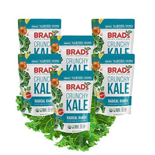 Brads Plant Based Organic Crunchy Kale, Radical Ranch, 6 Bags, ...