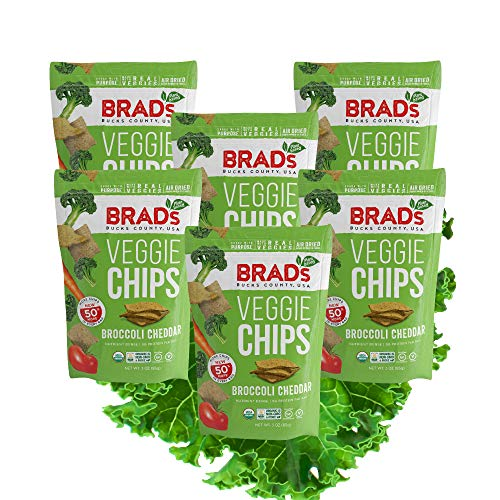 Brads Plant Based Organic Veggie Chips, Broccoli Cheddar, 6 Bag...