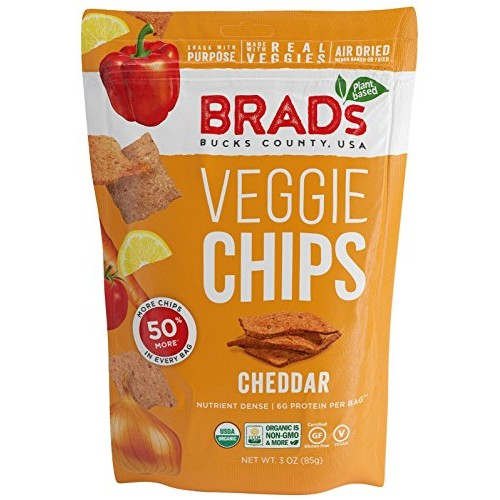 Brads Plant Based Organic Veggie Chips, Cheddar, 3 Count