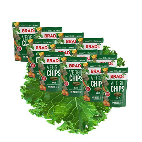 Brads Plant Based Organic Veggie Chips, Kale, 12 Bags, 24 Servi...