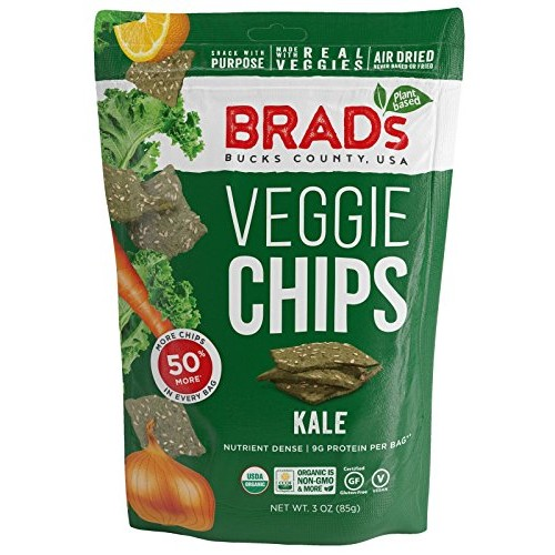 Brads Plant Based Organic Veggie Chips, Kale, 3 Bags,9 Servings...