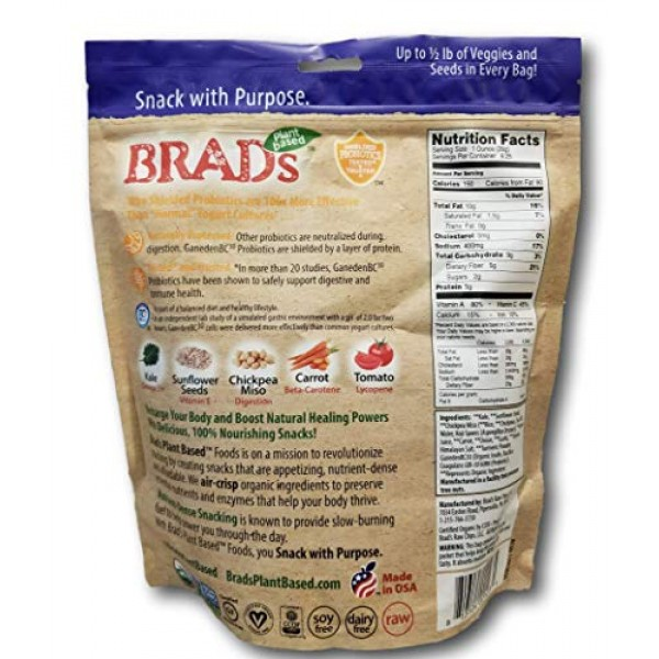 Brads Crunchy Kale Probiotic Crisps- Original Vegan Cheeze