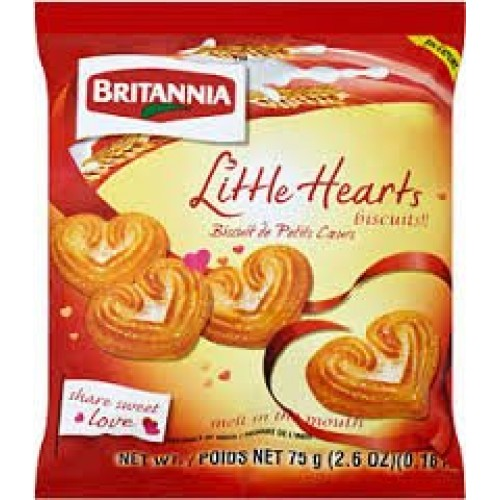 Britannia Little Hearts Biscuits - 75g., 2.6oz. Pack of 4