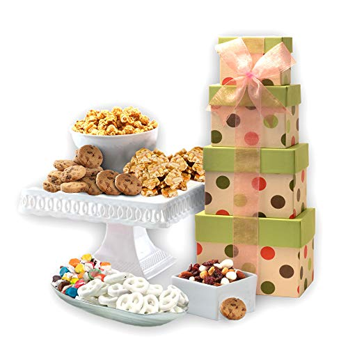 Gourmet Celebration Gift Tower with Gourmet Popcorn, Cookies & A...