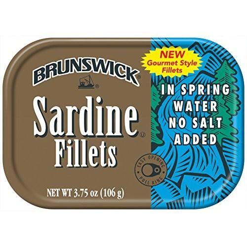 BRUNSWICK Sardine Fillets in Spring Water, No Salt Added, High P...