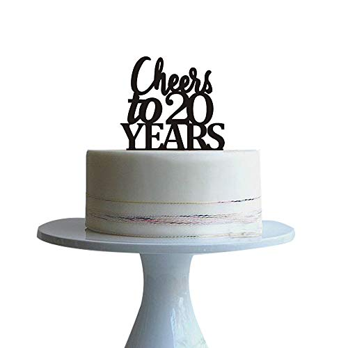 Black Cheers to 20 years cake topper for 20 years love,wedding a...