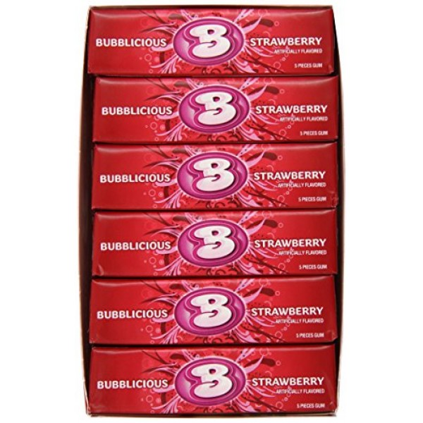 Bubblicious Bubble Gum, Strawberry Splash, 5-Piece Packs Pack o...