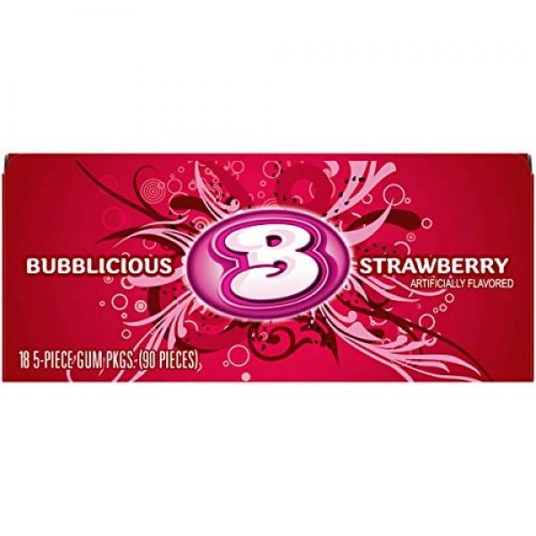 Bubblicious Bubble Gum, Strawberry, 18 Five-Count Packs