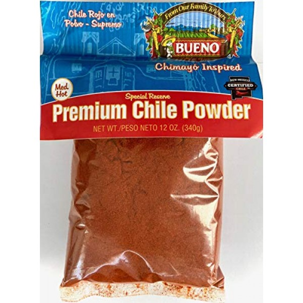 Bueno Special Reserve Premium Red Chile Powder, MED-HOT, 12oz. Bag