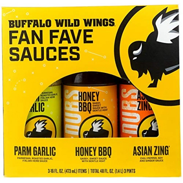 Buffalo Wild Wings Fan Fave Sauces - Parmesan Garlic, Honey BBQ,...