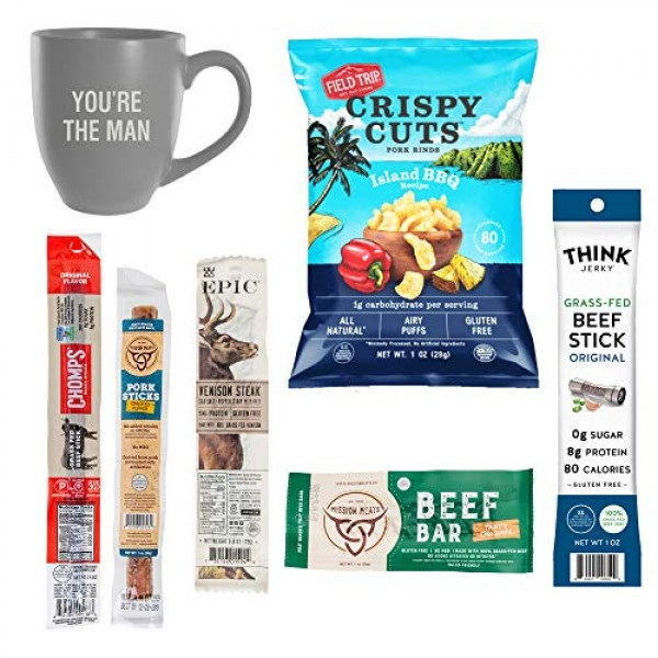 """Beef Jerky Gift Basket For Men With """"you're The Man"""" Mug - Varie..."""