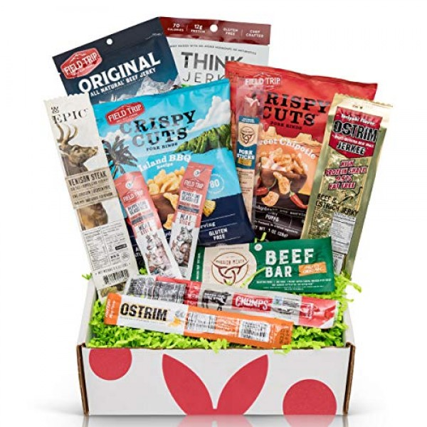Beef Jerky Sampler Gift Box: Variety Of Healthy Beef Meat Sticks...