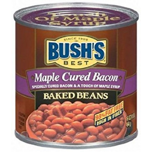 Bushs Best Maple Cured Bacon Baked Beans 16 Oz Pack of 6