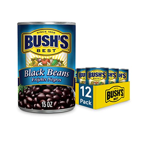 BUSHS BEST Canned Black Beans Pack of 12, Source of Plant Bas...