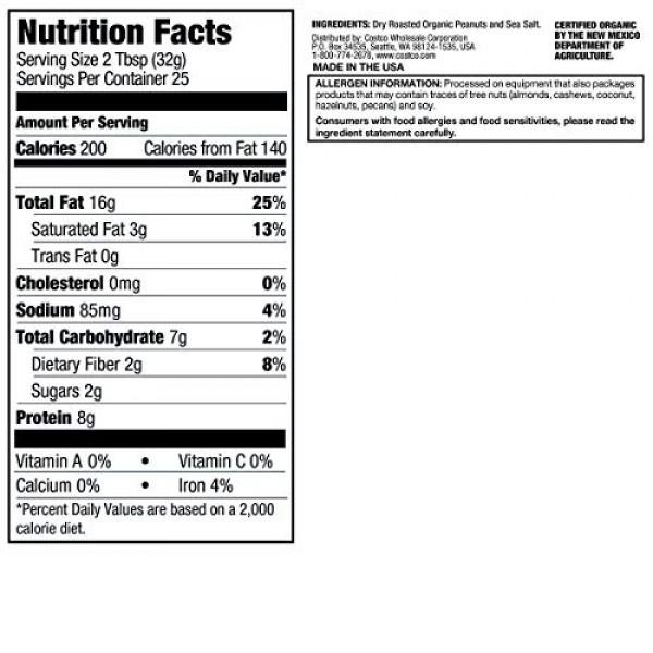 Kirkland Organic Creamy Peanut Butter U.S. Valencia Peanuts 28 O...