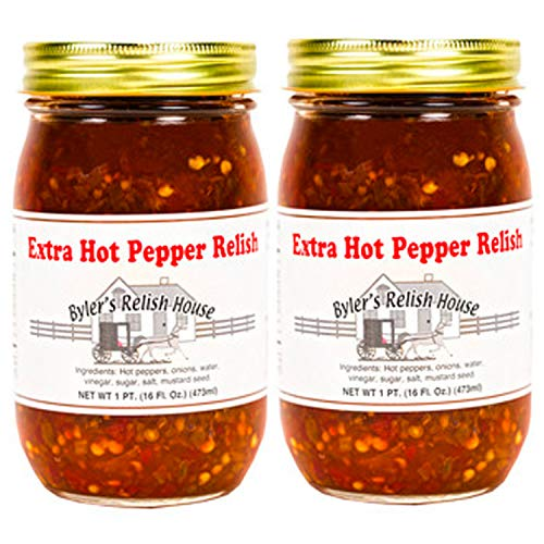 Bylers Relish House Extra Hot Pepper Relish 16oz pack of 2