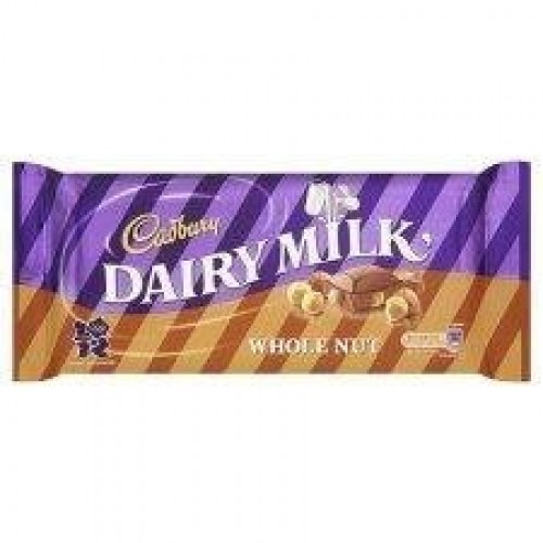 Cadbury Dairy Milk Chocolate Whole Nut Bar 120g - Pack of 6