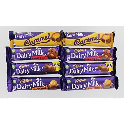 Cadbury Dairy Milk Selection - 8 Bars (2x Dairy Milk, Fruit & Nu...