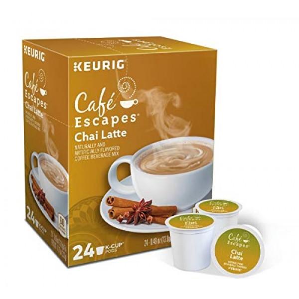 Cafe Escapes, Chai Latte Tea Beverage, Single-Serve Keurig K-Cup...