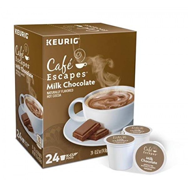 Cafe Escapes, Milk Chocolate Hot Cocoa, Single-Serve Keurig K-Cu...