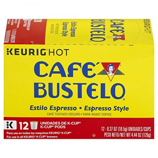 Café Bustelo Coffee Espresso Style Dark Roast Coffee, 12 K Cups ...