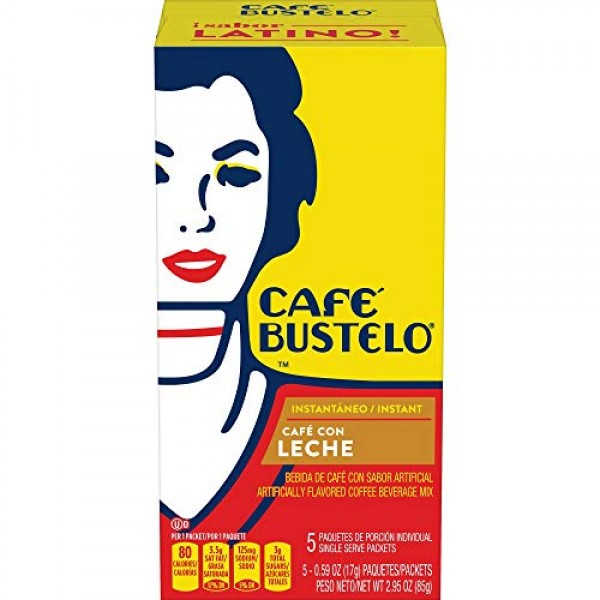Cafe Bustelo Instant Cafe con Leche Flavored Coffee Beverage Mix...