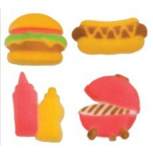 24pk Summer BBQ 1 1/4 - 1 1/2 Edible Sugar Decoration Toppers ...
