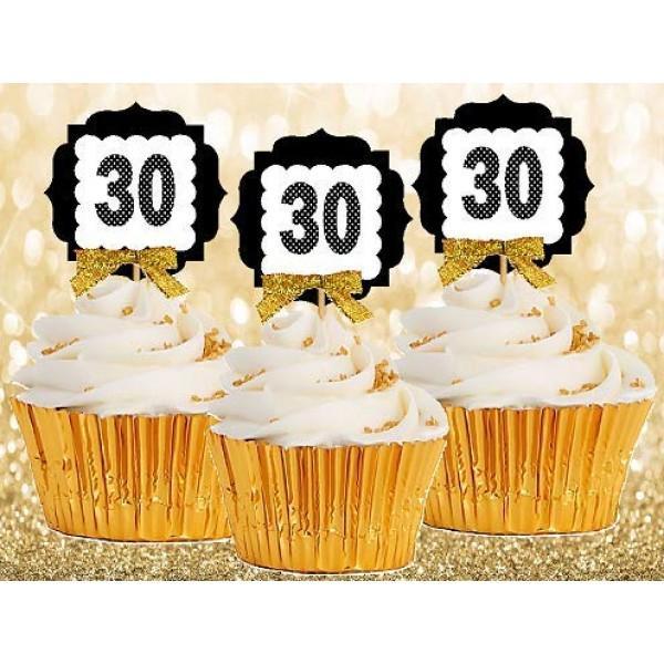 30th Birthday Anniversary Gold Ribbon Novelty Cupcake Appetizer ...
