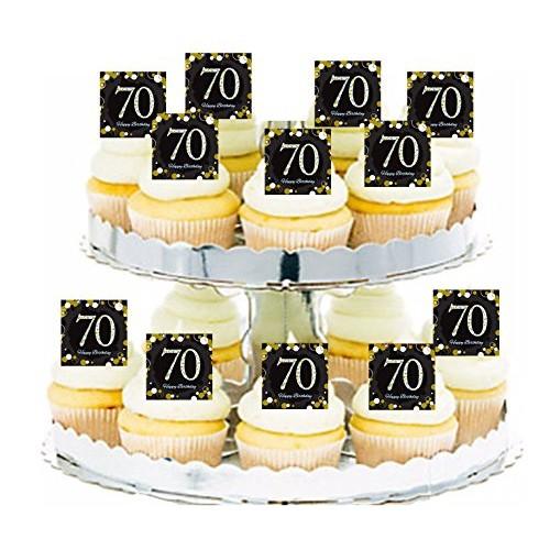 Happy 70th Birthday Black & Gold Cupcake/Food / Appetizer Decora...