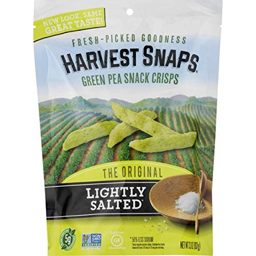 Harvest Snaps Green Pea Snack Crisps, Lightly Salted, 3.3-Ounce ...