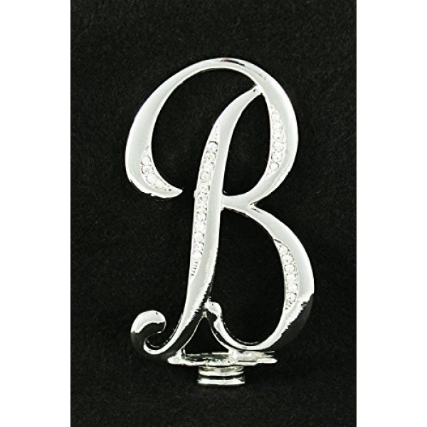 Silver Rhinestone Monogram Wedding Cake Topper Top Letter Initia...