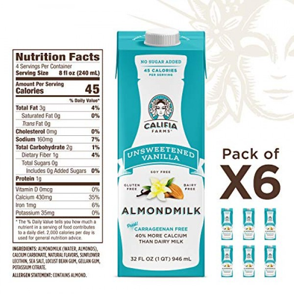 Califia Farms - Shelf Stable Almond Milk, Unsweetened Vanilla, 3...