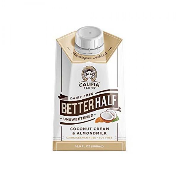 Califia Farms Unsweetened Better Half Coffee Creamer, 16.9 Fl Oz...