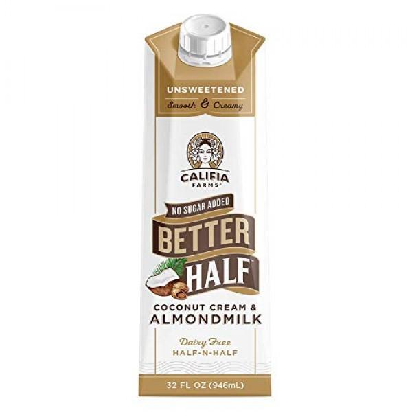 Califia Farms - Unsweetened Better Half Coffee Creamer, 32 Oz P...