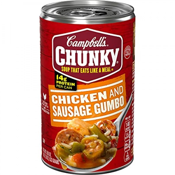 Campbells Chunky Soup, Grilled Chicken & Sausage Gumbo, 18.8 oz