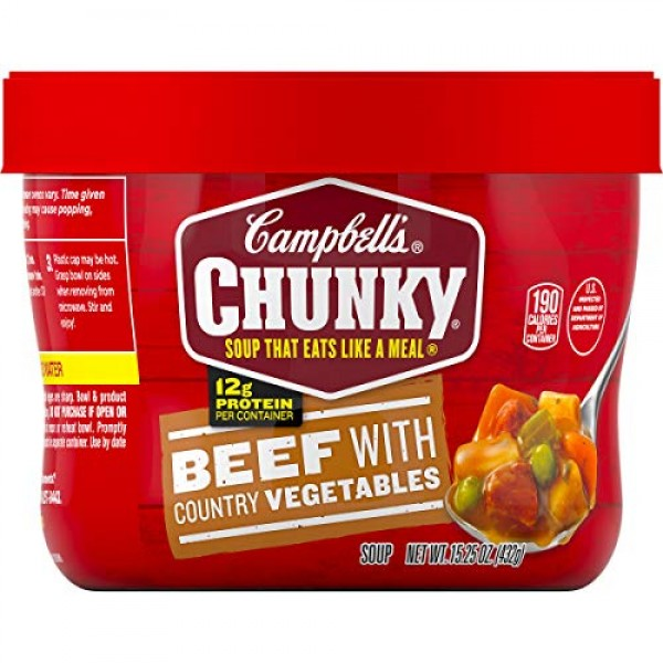 Campbells Chunky Microwavable Soup, Beef with Country Vegetable...