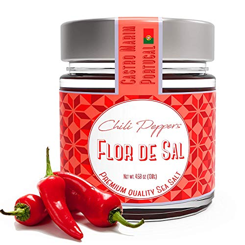 Fleur De Sel, Sea Salt with Chili Peppers from Portugal, Campo d...
