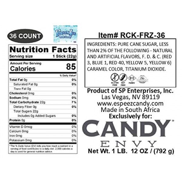 Frozen Ice Rock Candy Sticks - 18 Individually Wrapped Rock Cand...