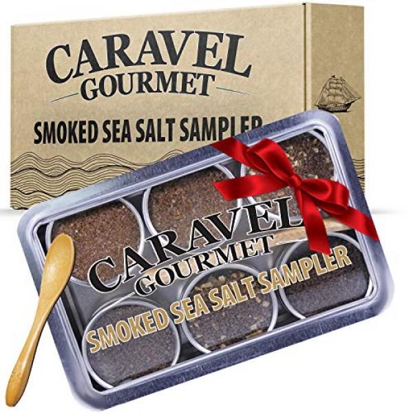 The Smoked Sea Salt Sampler Set - 6 Varieties in Reusable Tins w...